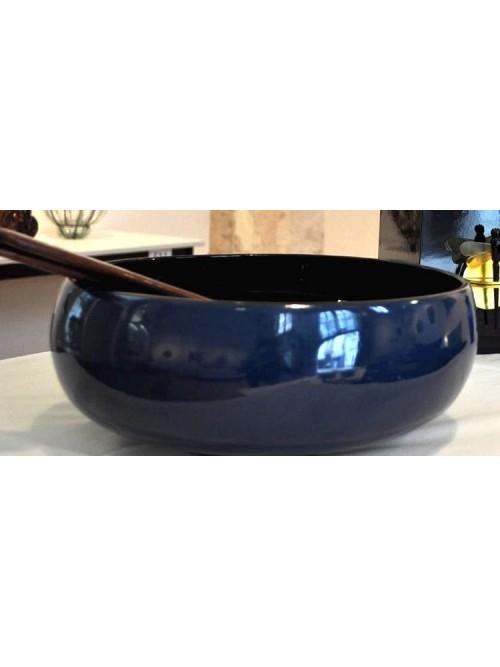 Saladier bambou laqué bleu - La Galerie Equitable