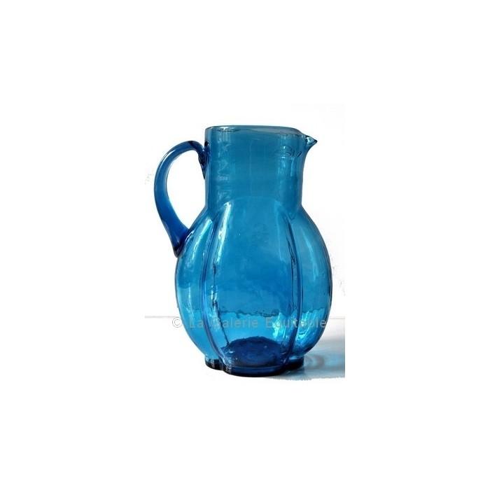 Pichet Carafe en verre turquoise - La Galerie Equitable