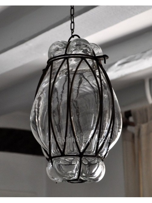 Lampe verre et fer forgé - La Galerie Equitable