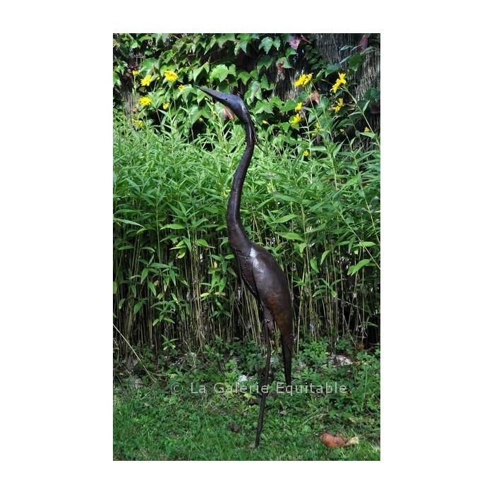 Héron en métal pour le jardin - La Galerie Equitable