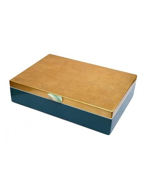 Boîte laquée bleu et or