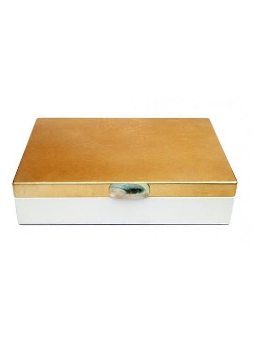 Boîte laquée blanc et or - La Galerie Equitable