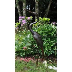 Grand heron en metal pour le jardin - La Galerie Equitable