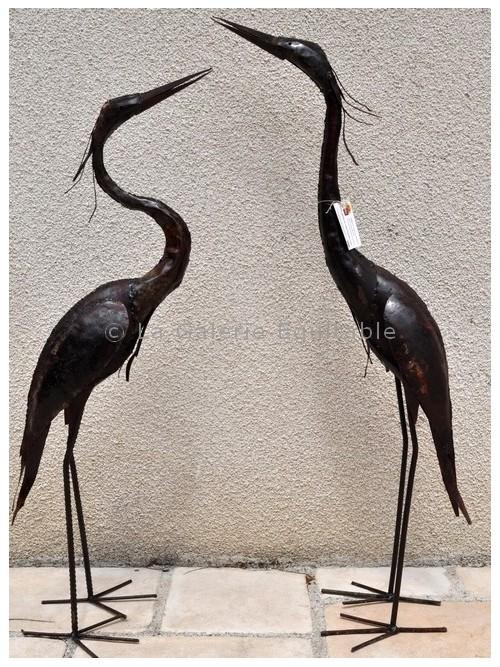 herons en metal recycle - La Galerie Equitable