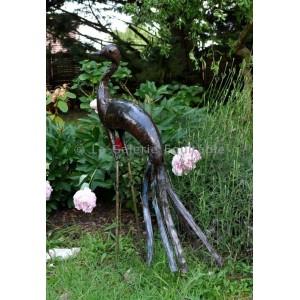 Oiseaux en metal recycle pour le jardin grue - La Galerie Equitable
