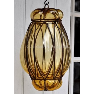 Lampe à suspendre en verre ambre - La Galerie Equitable