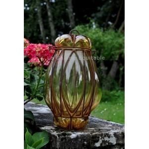 Lampe en verre et fer forge - La Galerie Equitable