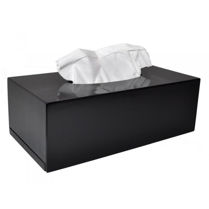 Boîte à mouchoirs bois laqué noir