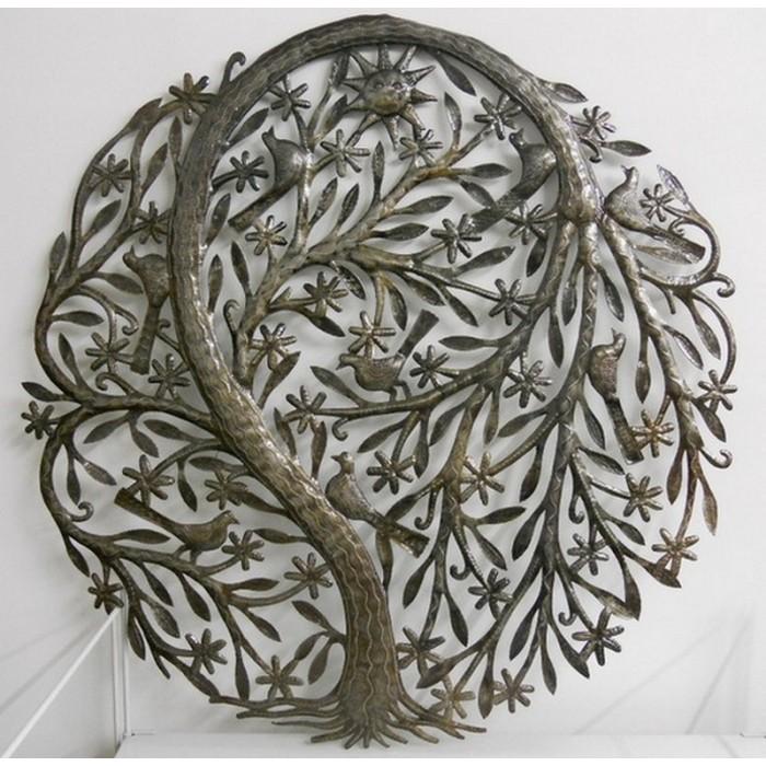 Arbre de vie - Décor mural en métal martelé à la main.
