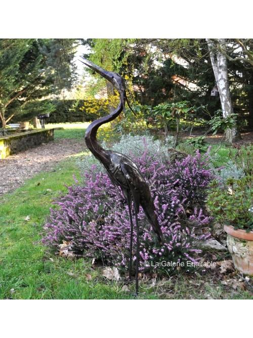 Grand héron pour décorer le jardin - La Galerie Equitable
