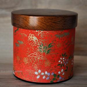 Boîte à thé décor rouge