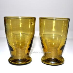 2 verres couleur ambre