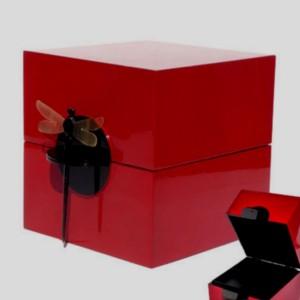 Coffret laque rouge et libellule - La Galerie Equitable