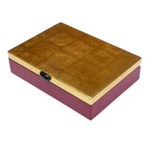Boîte laquée rouge et or L