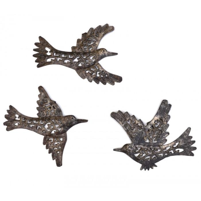 Les 3 oiseaux en métal martelé - La Galerie Equitable