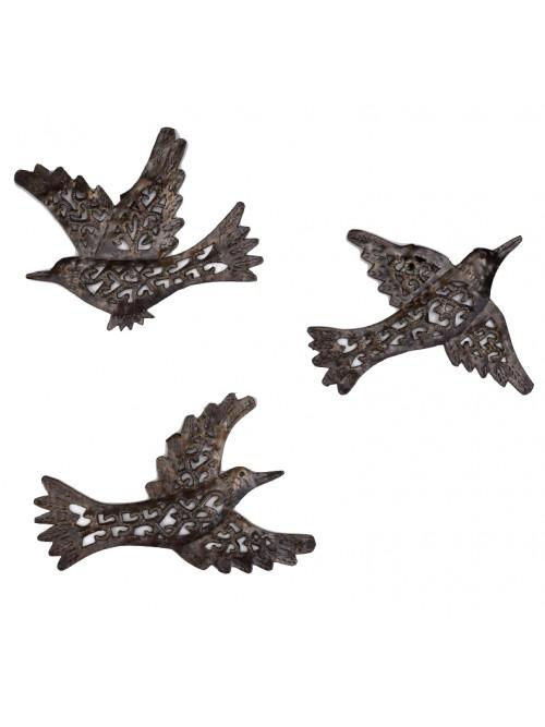 3 oiseaux en métal martelé à accrocher au mur - La Galerie Equitable