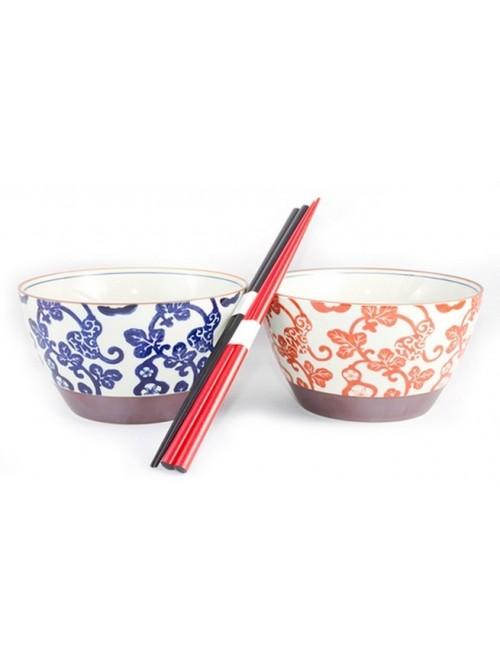 Ensemble de bols japonais et leurs baguettes - La Galerie Equitable