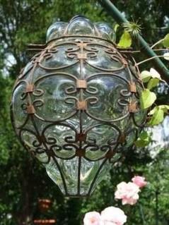 Lampe verre soufflé et fer forgé - La Galerie Equitable