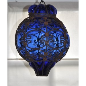 Lampe arabesque bleue - La Galerie Equitable