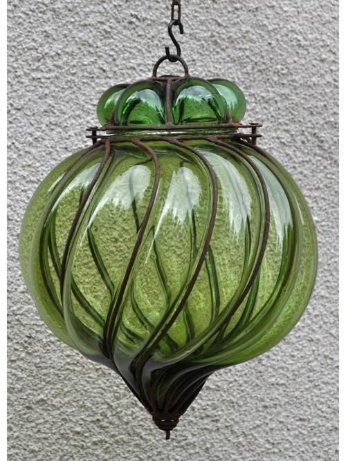 Lampe spirale en verre et fer forge - La Galerie Equitable