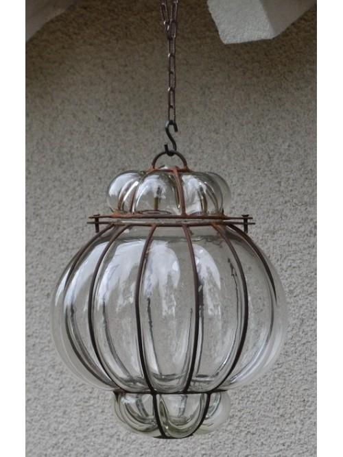 Lampe lustre en verre et fer forgé - La Galerie Equitable