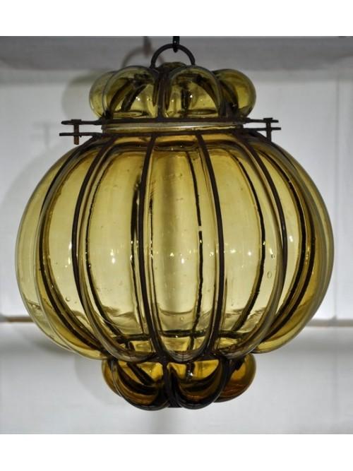 Lampe verre souffle jaune - La Galerie Equitable