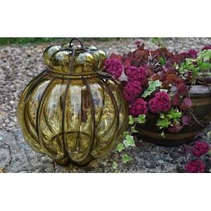 Lampe lanterne verre soufflé et fer forgé - La Galerie Equitable