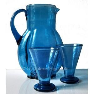 Pichet Carafe et verres turquoise -  La Galerie Equitable