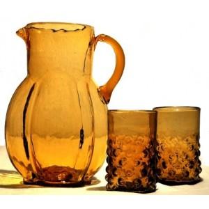 Carafe à eau ambre et verres - La Galerie Equitable