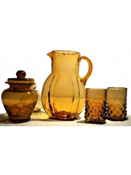 Carafe à eau ambre verres et pot - La Galerie Equitable