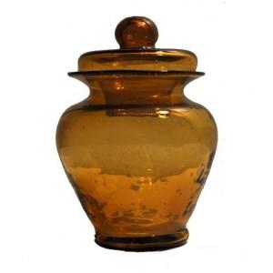 Bonbonnière ambre pot à couvercle en verre - La Galerie Equitable