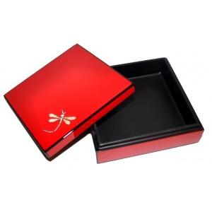 Petite boîte laque rouge décor libellule - La Galerie Equitable